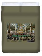 faithful Buddhists praying at sitting Buddha in golden Ponnya Shin Pagoda Duvet Cover