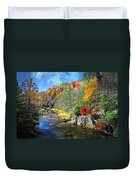 Fall Along The Linville River Duvet Cover