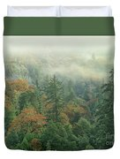 Fall Color And Fog Near Garberville California Duvet Cover