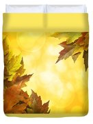 Fall Color Maple Leaves Background Border Duvet Cover