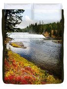 Fall Colors And Waterfalls Duvet Cover