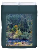 Fall Colors By The Spokane River Duvet Cover