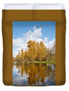Fall Colors Clouds And Western Gulls Reflected In A Pond Duvet Cover
