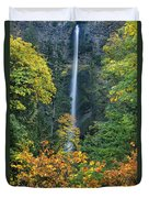 Fall Colors Frame Multnomah Falls Columbia River Gorge Oregon Duvet Cover