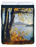 Fall Colors Frame Whiteface Mountain Duvet Cover