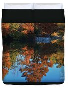 Fall Colors Water Reflection Duvet Cover by Robert D  Brozek