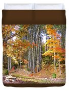 Fall Driveway And Coco The Dog Duvet Cover