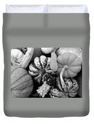 Fall Gourds Black And White Duvet Cover