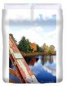 Fall Landscape Old Bridge Maine Duvet Cover