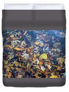 Fall Leaves In A Pond Duvet Cover