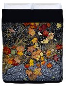 Fall Leaves On Pavement Duvet Cover by Elena Elisseeva