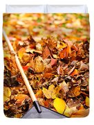 Fall Leaves With Rake Duvet Cover by Elena Elisseeva