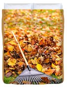 Fall Leaves With Rake Duvet Cover