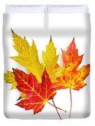 Fall Maple Leaves On White Duvet Cover