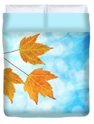 Fall Maple Leaves Trio With Blue Sky Duvet Cover