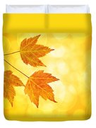 Fall Maple Leaves Trio With Bokeh Background Duvet Cover
