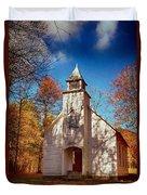 Fall Morning At Palmer Chapel In Cataloochee Duvet Cover
