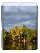Fall Pond Reflection Duvet Cover