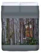 Fall Reflections On Weathered Glass Duvet Cover