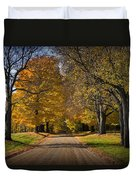 Fall Rural Country Gravel Road Duvet Cover