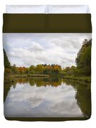 Fall Season By The Pond Duvet Cover