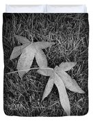Fallen Autumn Leaves In The Grass During Morning Frost Duvet Cover