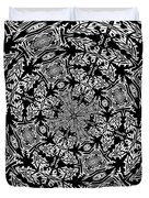 Fallen Leaves Black And White Kaleidoscope Duvet Cover