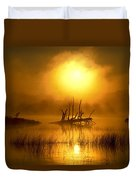 Fallen Tree In Misty Sunrise At Duvet Cover