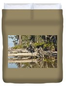 Fallen Trees Reflected In A Beach Tidal Pool Duvet Cover
