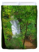 Falling Foss Waterfall In North York Moors National Park Duvet Cover