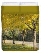 Falling Leaves From Neighborhood Beech Trees Duvet Cover