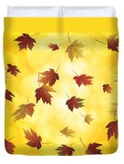 Falling Maple Leaves In Autumn Illustration Duvet Cover