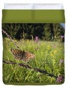 False Heath Fritillary In Meadow Bavaria Duvet Cover