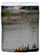 Family Canoeing At Lower Tahquamenon Falls Duvet Cover