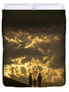 Family On Hillside Holding Hands And Facing Life Together. Duvet Cover