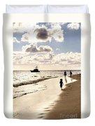 Family On Sunset Beach Duvet Cover