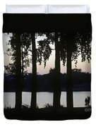 Family Silhouetted By Lake Duvet Cover