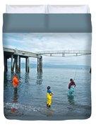 Family Surf Fishing In Kachemak Bay Off Homer Spit-ak Duvet Cover