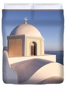Famous Orthodox Church In Santorini Greece Duvet Cover by Matteo Colombo