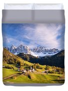 Famous View St Magdalena With Odle Mountains In The Dolomites Italy Duvet Cover