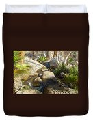 Fan Palm Leaves And Shadows Over Andreas Creek Rocks In Indian Canyons-ca Duvet Cover