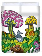 Fanciful Mushroom Nature Doodle Duvet Cover