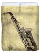 Fancy Antique Saxophone In Pastel Duvet Cover