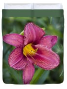 Fancy Red Wine Daylily Duvet Cover