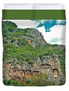 Fancy Tomb Carvings At The Top In Daylan-turkey Duvet Cover
