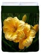 Fancy Yellow Daylilies Duvet Cover