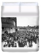 Fans Leaving Yankee Stadium. Duvet Cover by Underwood Archives