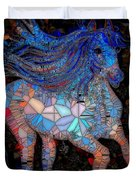 Fantasy Horse Mosaic Blue Duvet Cover