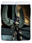 Fantasy Winged Female Warrior Duvet Cover