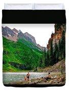 Far End Of Lake Louise In Banff Np-alberta Duvet Cover